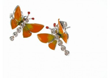 Earrings Orange Butterflies