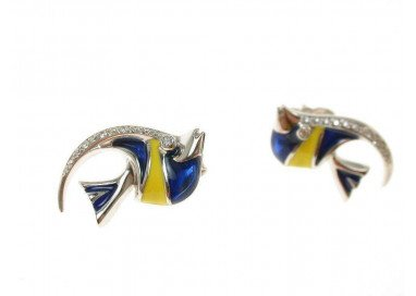 Earrings Fish Blue
