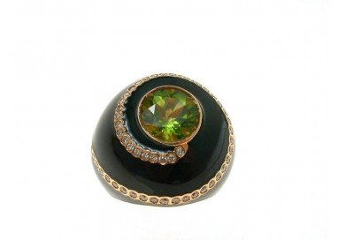 Black Dome Ring Peridot Green