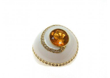 Ring White dome Topaz Citrine