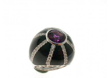 Black Amethyst Ring Dome