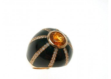 Ring Black Dome Topaz Citrine